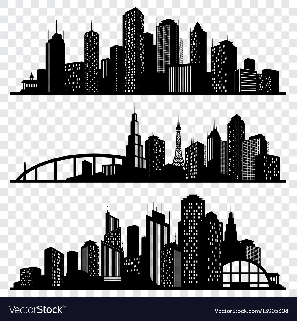 City building silhouettes urban
