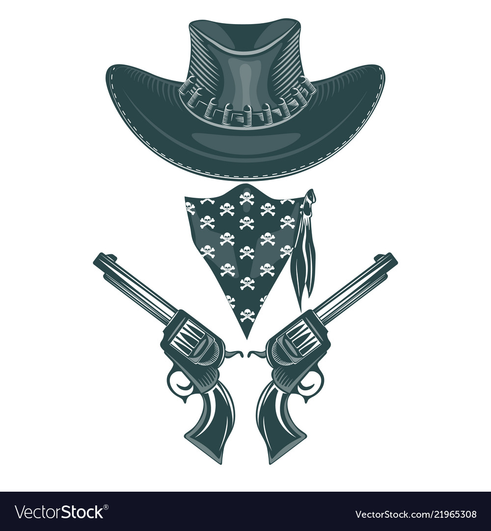 Cowboy set hat revolvers and mask monochrome