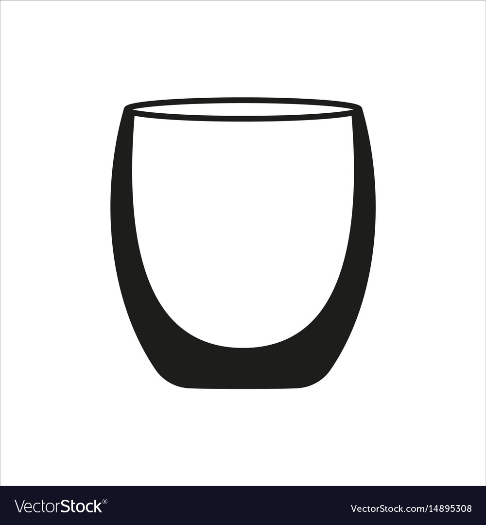 Empty glass cup icon in simple monochrome style vector image
