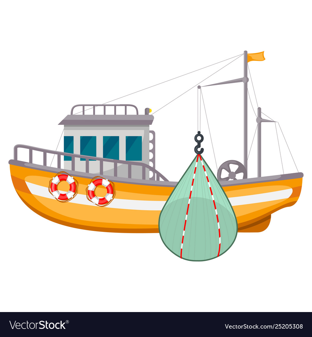 Fishing ship icon sea harbor fishery equipment