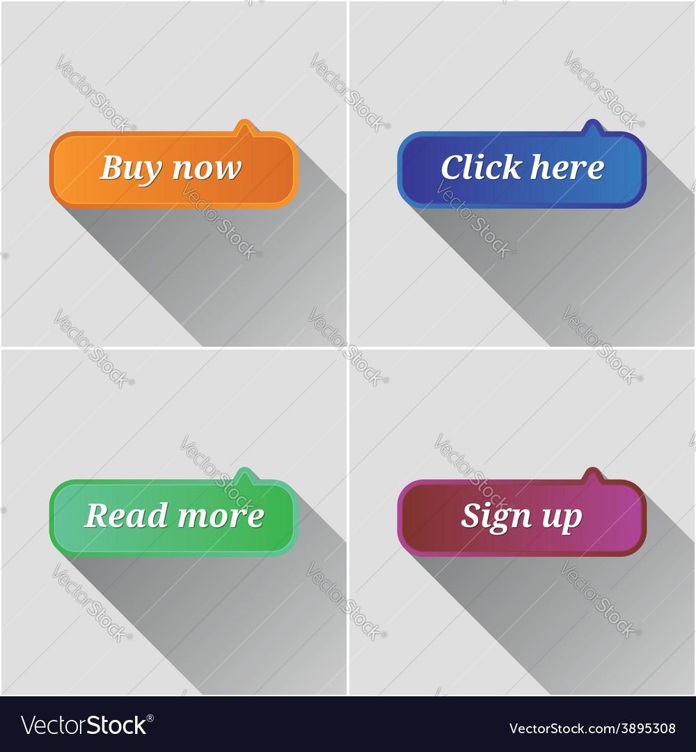 Flat web buttons set