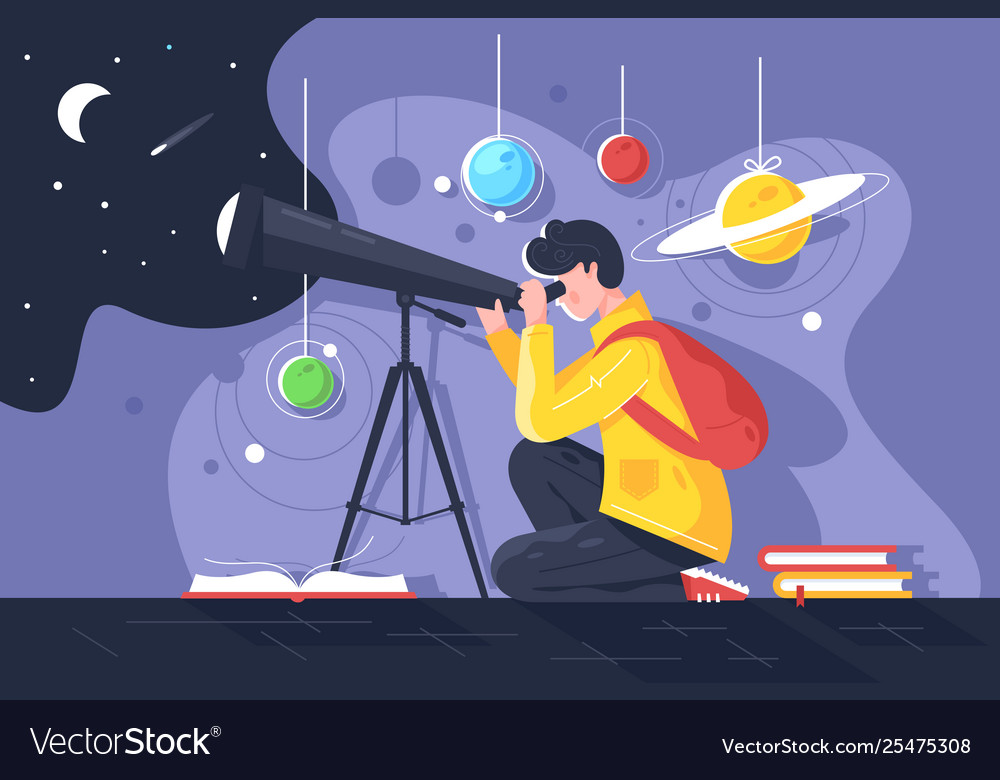 Flat young man with book and telescope studying