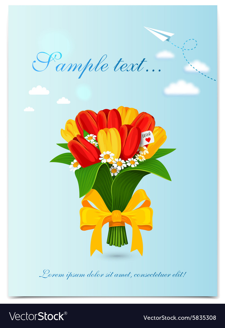 Greeting card with bouquet spring tulips vector image