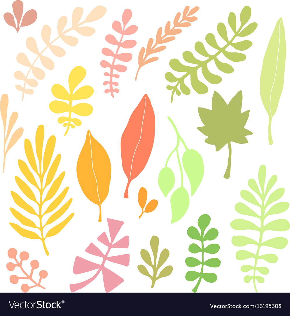 Leaves silhouette set autumn isolated decoration