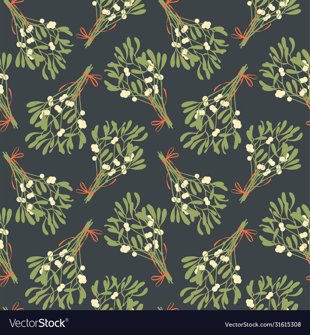 Mistletoe seamless pattern vintage style