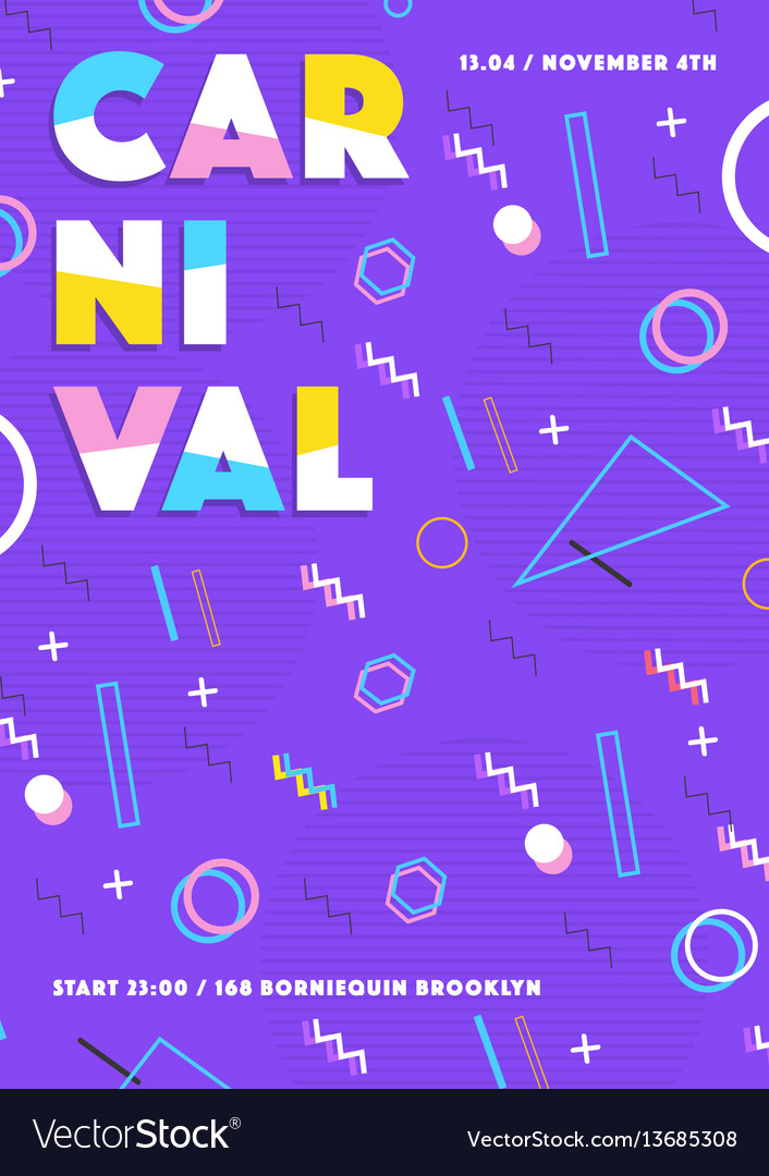 Purple carnival poster abstract 80s 90s