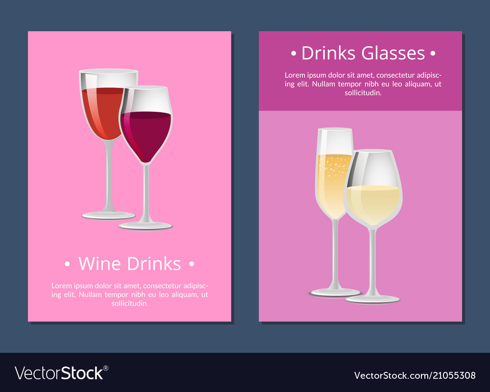 Red And White Wine In Four Glasses Color Banner Vector Image
