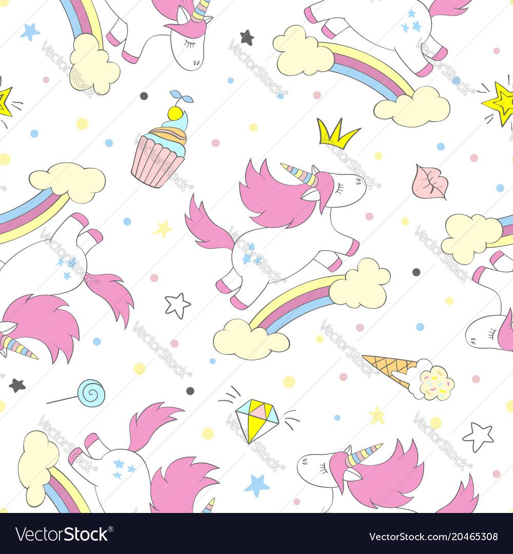 Seamless cute unicorn pattern
