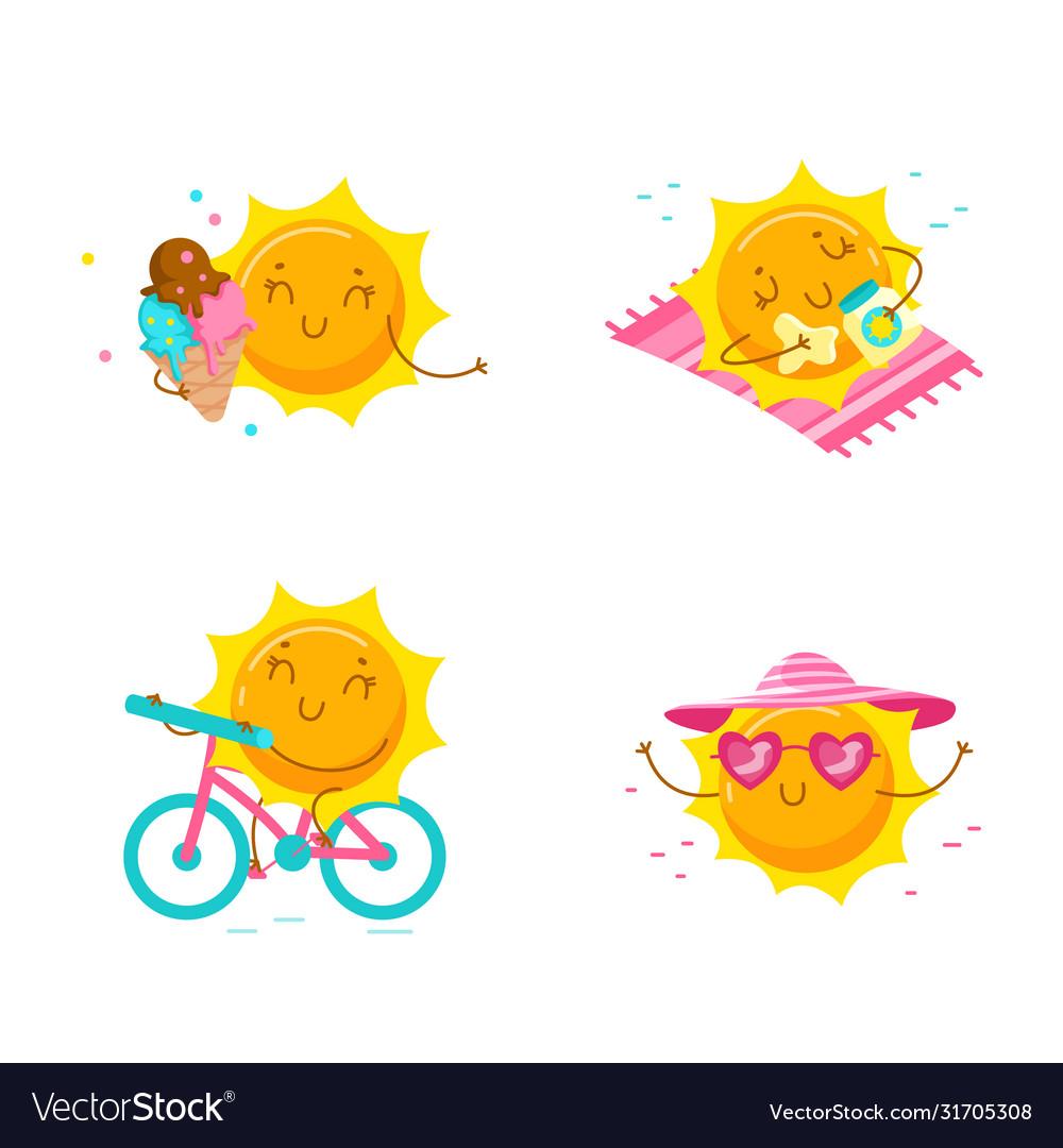Set cute cartoon sun characters kawaii