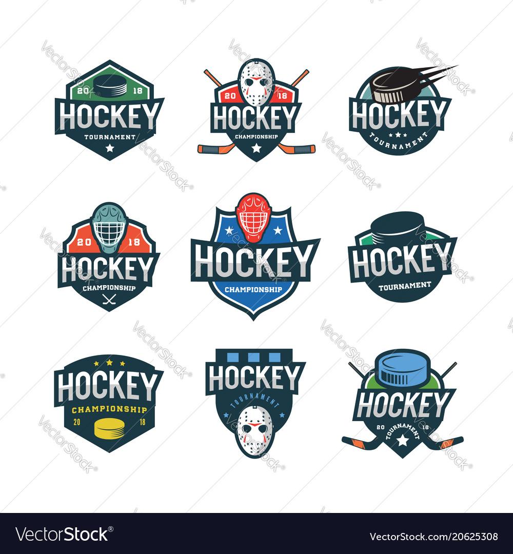 Set of hockey logos sport emblems vector image