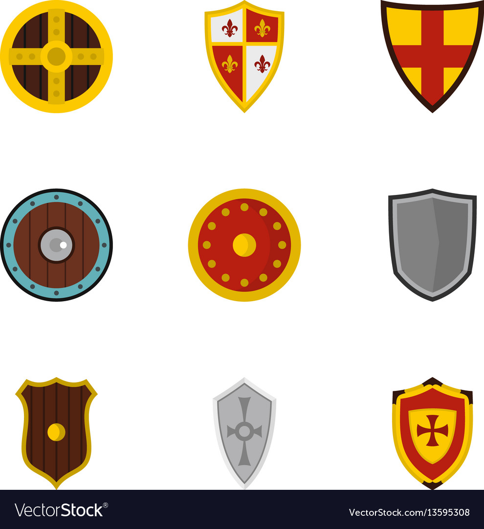 Shield icons set flat style