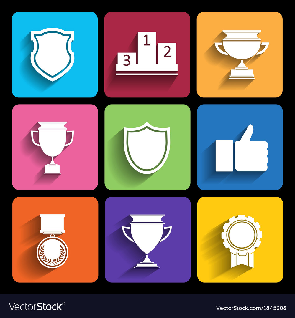 Trophy and awards icons set in flat style