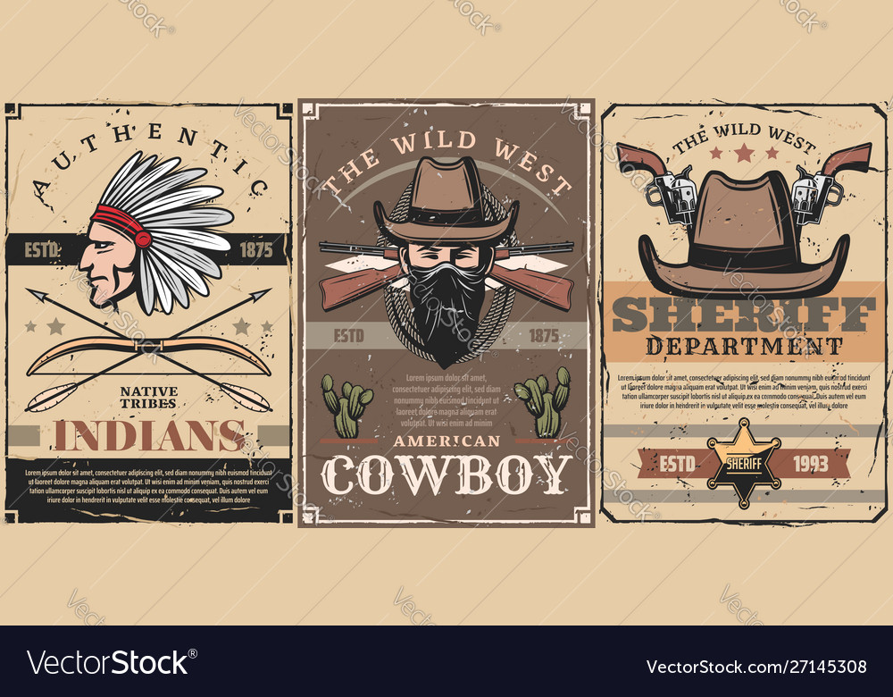 Wild west sheriff cowboy and indian chief