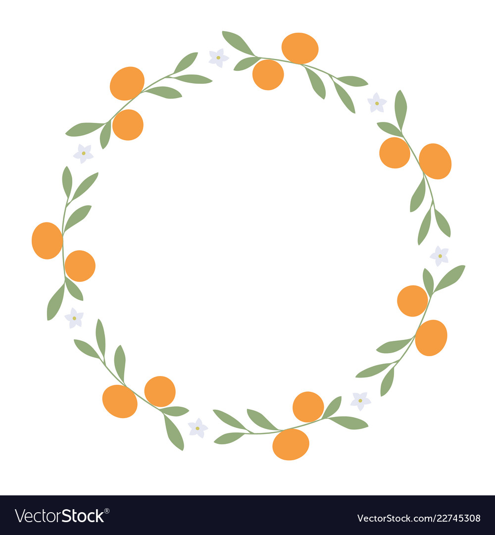 Wreath of leaves oranges and orange blossoms on