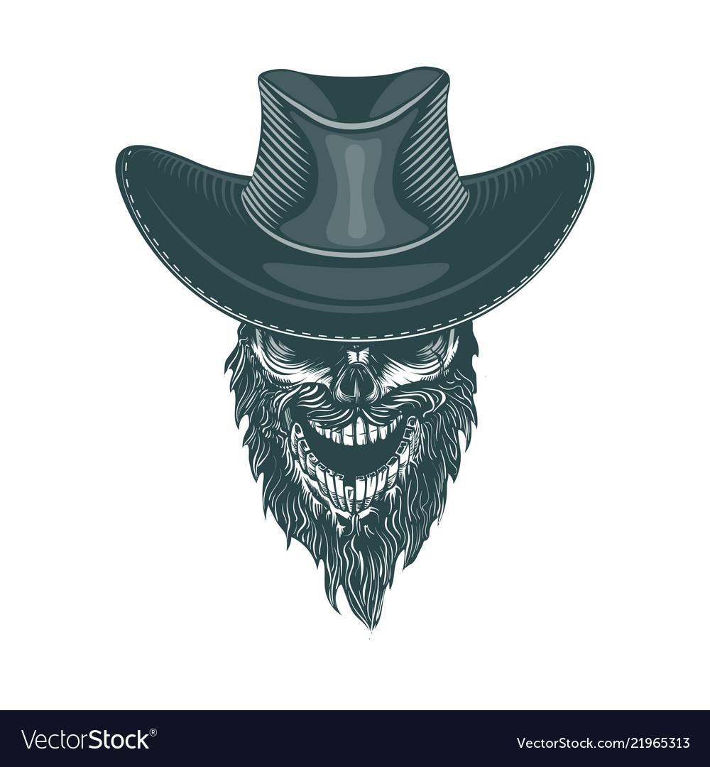 Bearded cowboy in a hat monochrome hand drawn