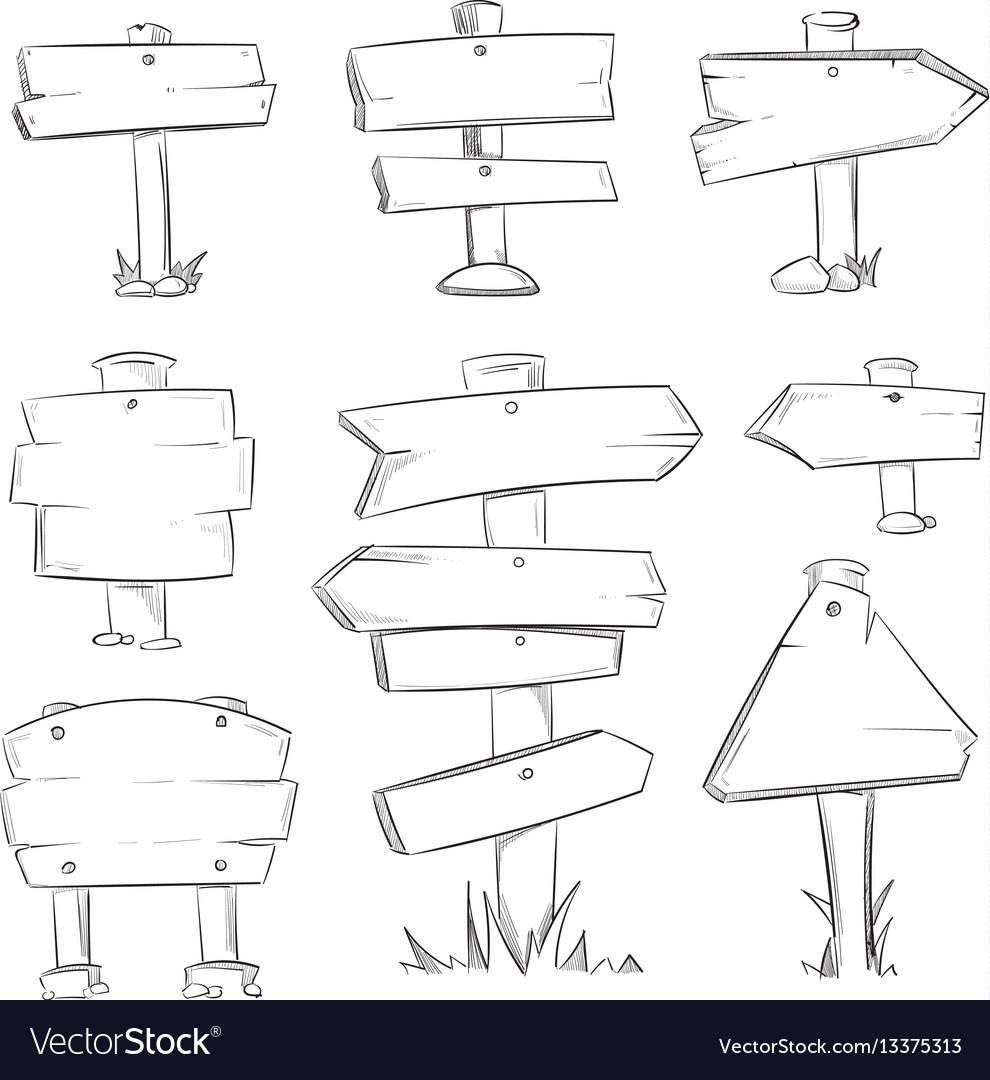 Cartoon doodle road wooden signs set