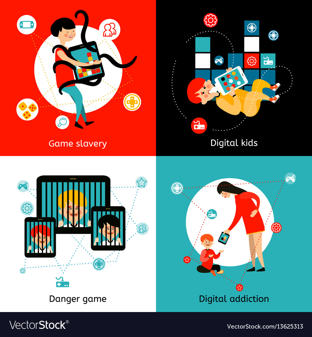 Children internet addiction 4 flat icons