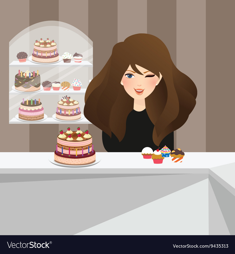 Girls smile in bakery store front of cakes dessert