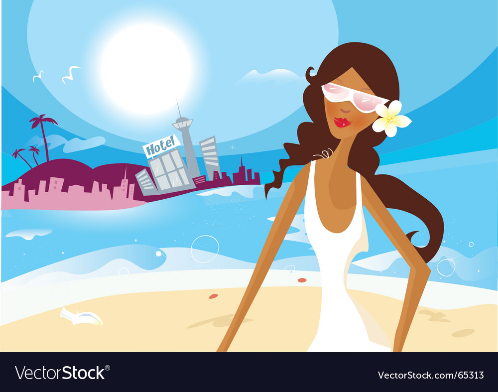Hot summer girl on vacation vector image
