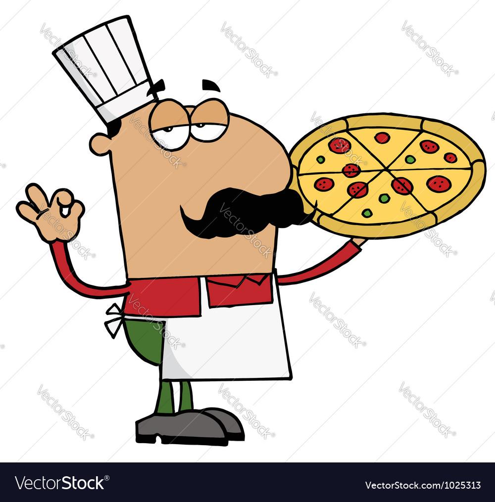 Pleased Hispanic Pizza Chef vector image