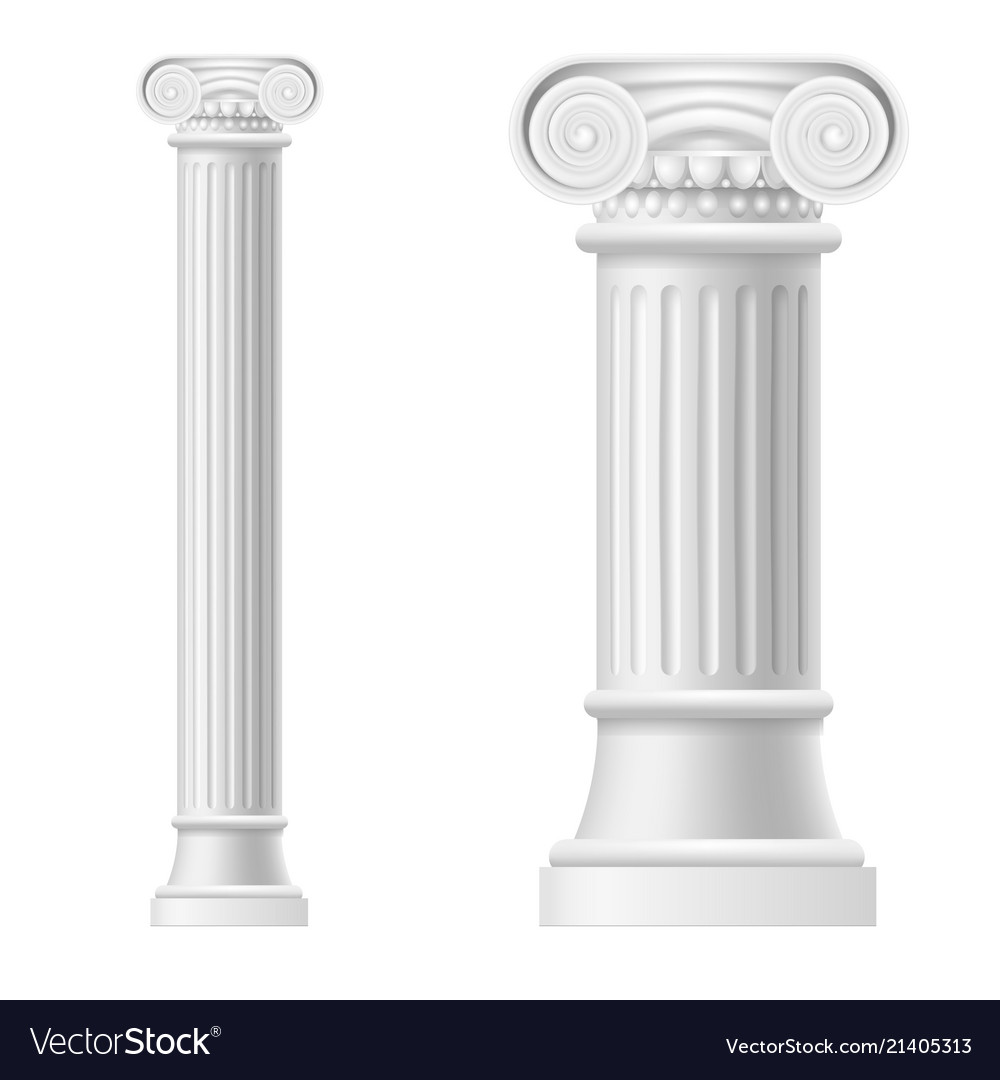 Realistic detailed 3d white blank ionic column