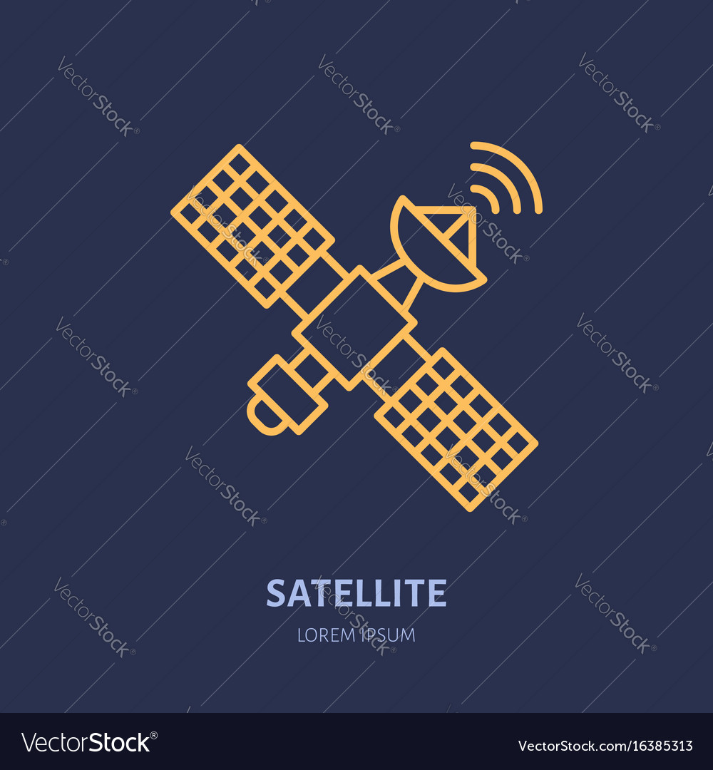 Satellite flat line icon wireless technology