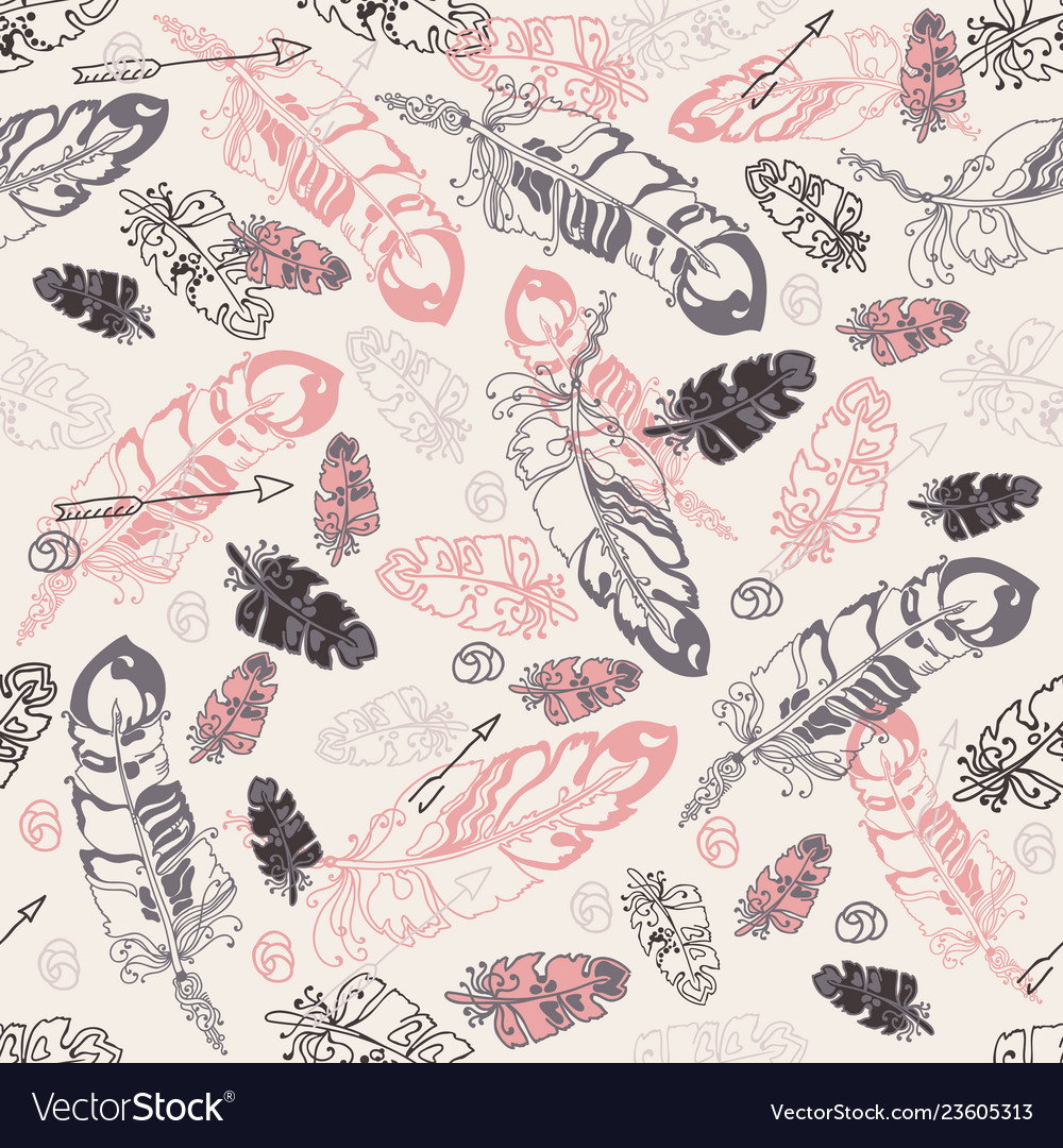 Seamless pattern with feathers and beads on whit