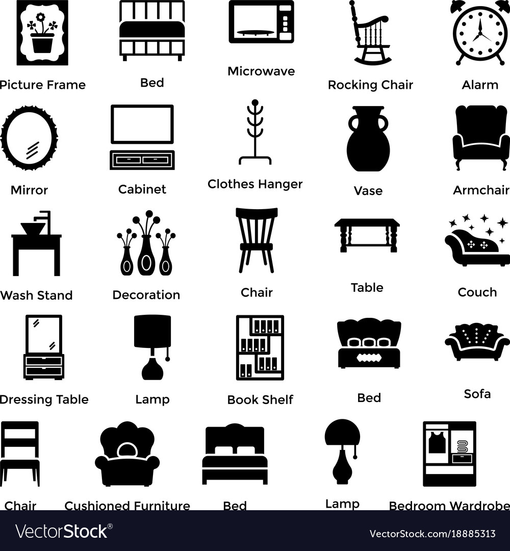 Set of interior and decoration glyph icons 7