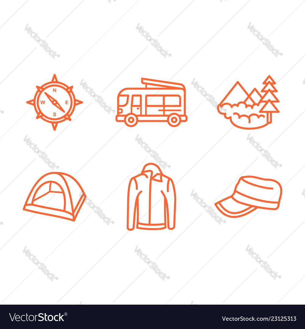 Traveling icon set