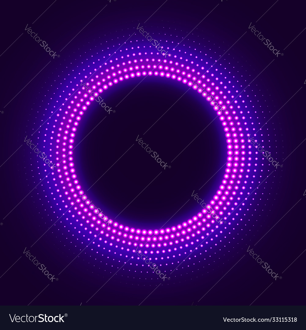 Abstract disco background with neon glowing circle