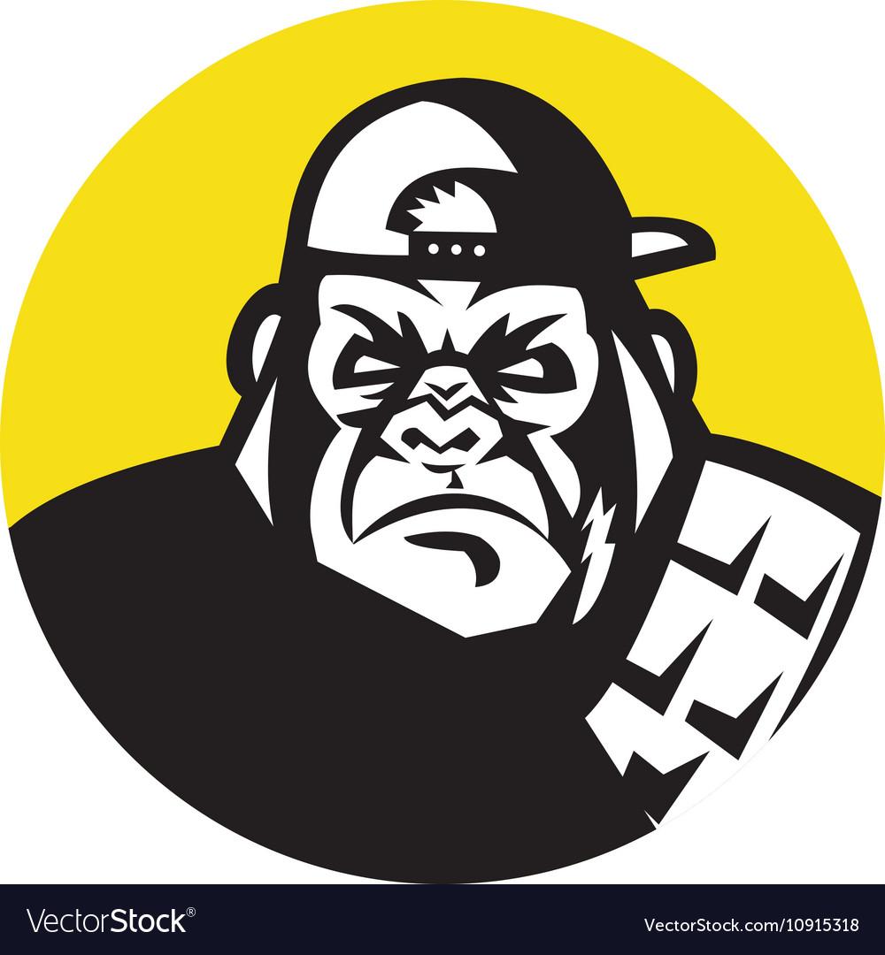 Angry gorilla head baseball cap circle retro