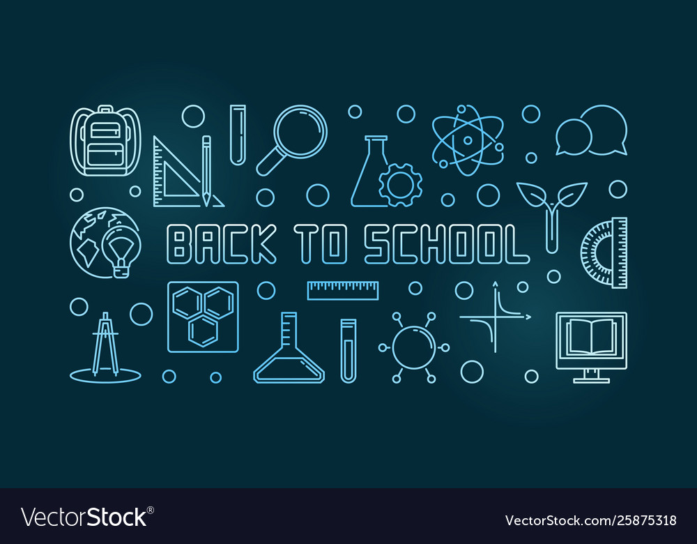 Back to school blue concept linear
