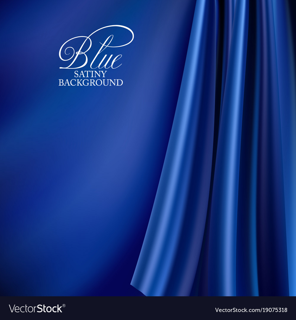 Brightly Lit Blue Curtain Background Silk Vector Image