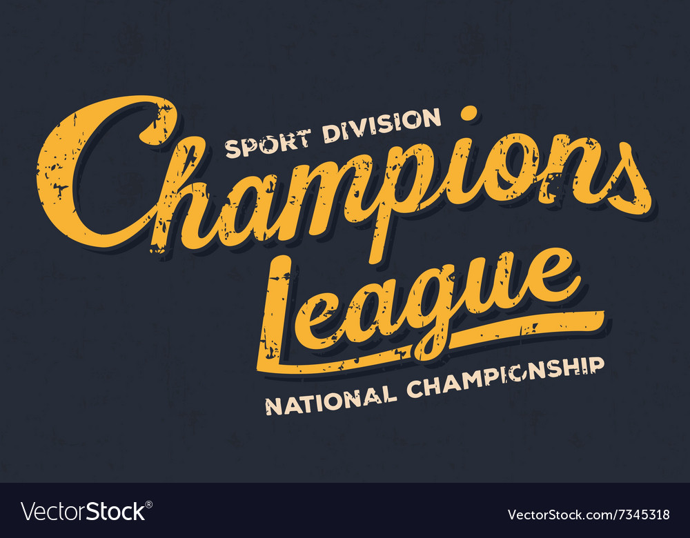 Championship league football typography Vintage