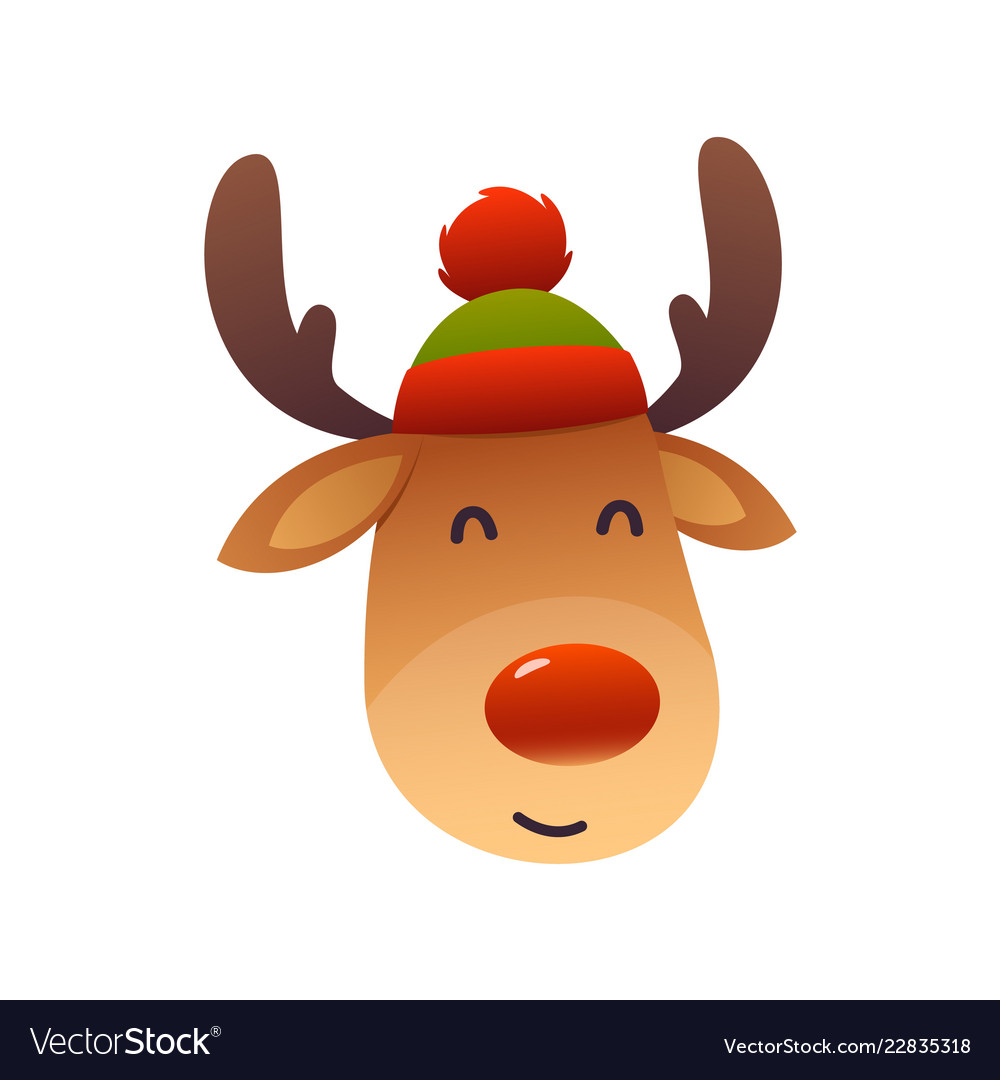 christmas cute reindeer with red nose cartoon vector image vectorstock