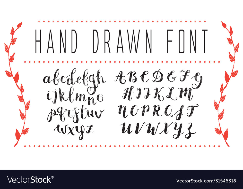 Hand drawn script alphabet letters written with a