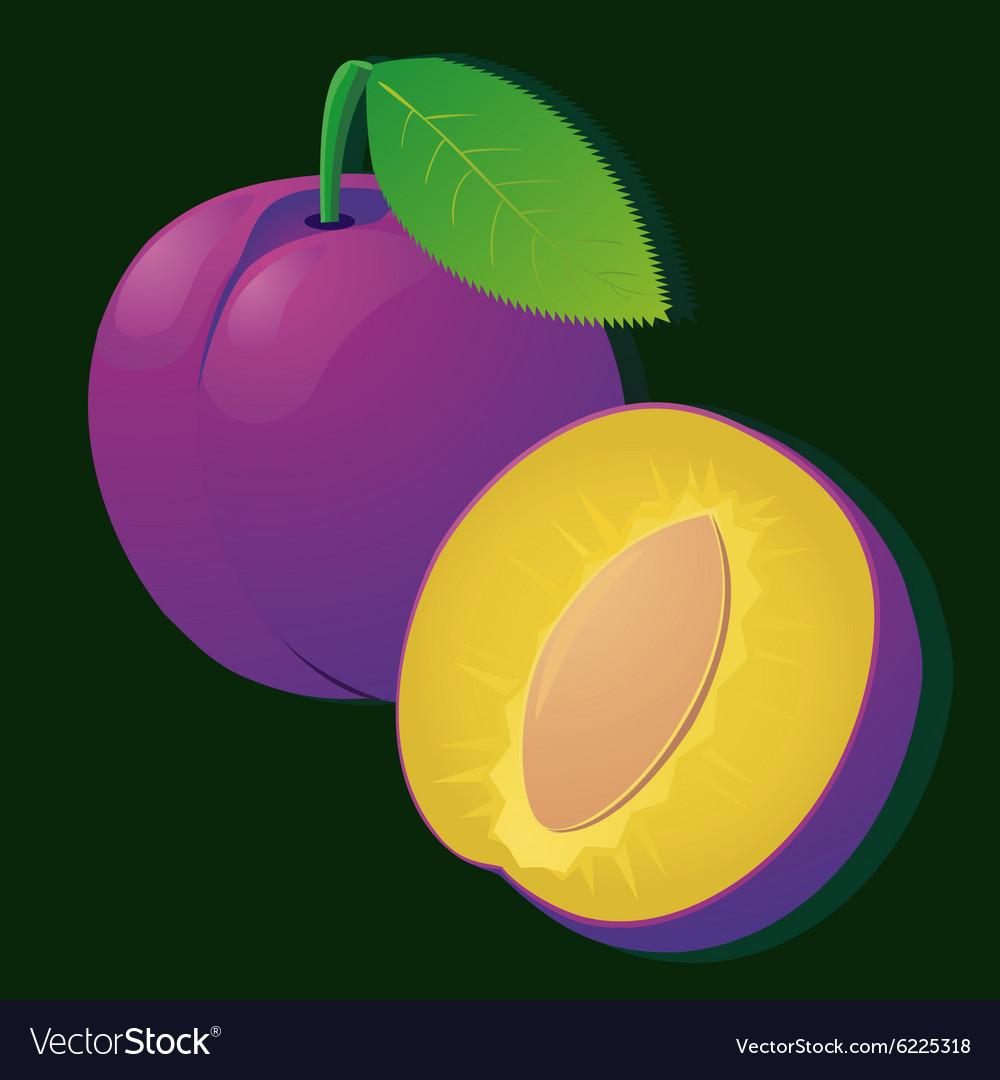 Image of a ripe juicy plum slices on stripe
