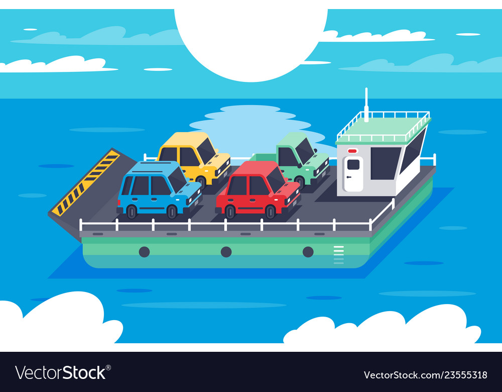 Isometric 3d barge carrying colors classic