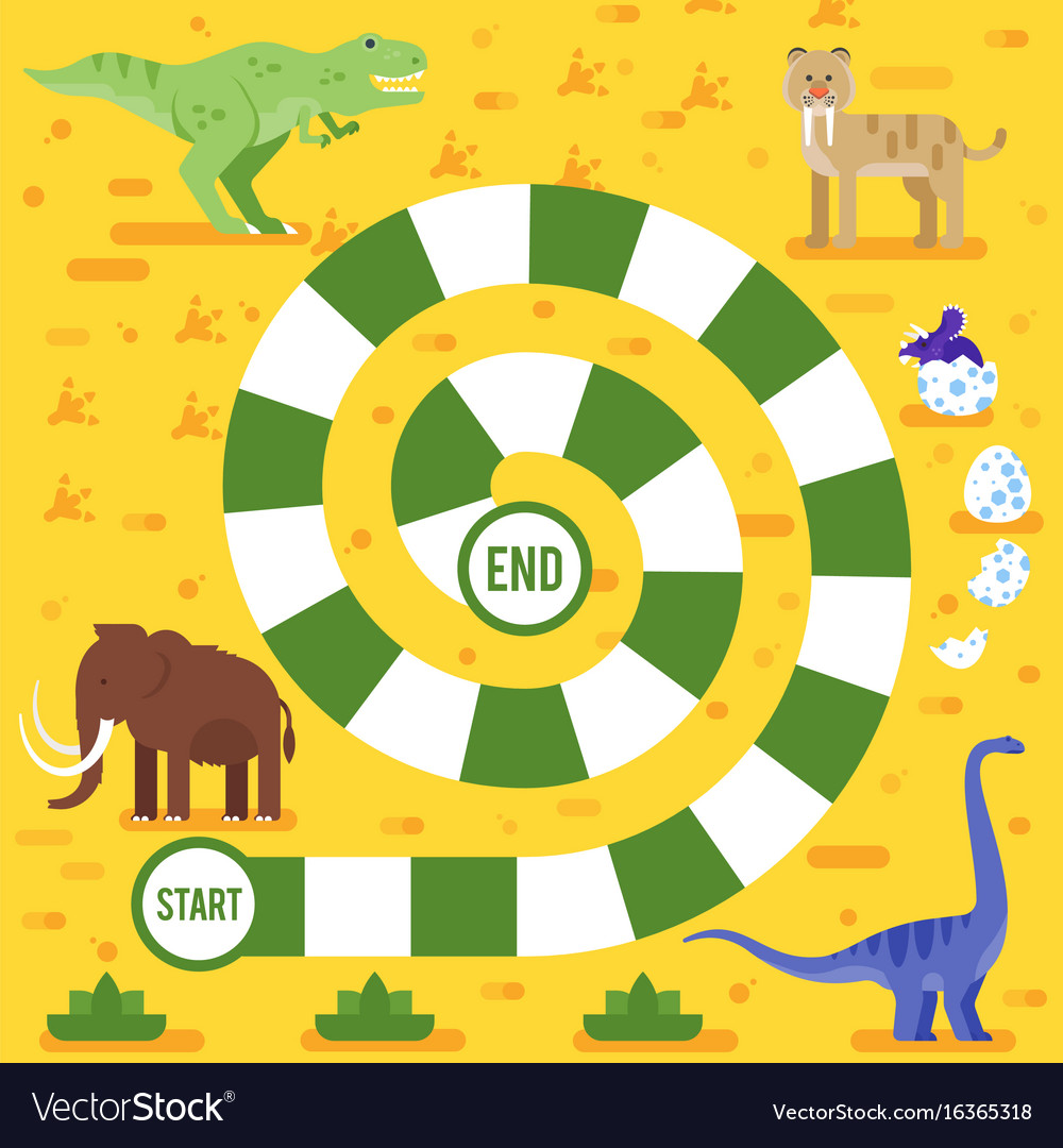 Kids board game with dinosaurs template