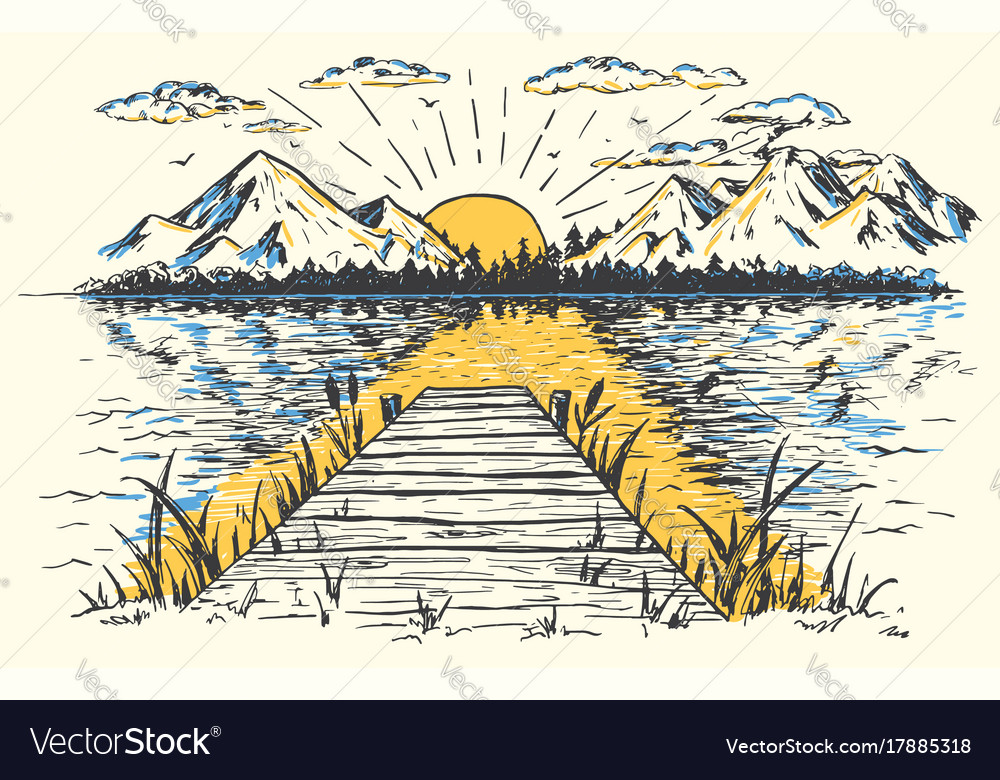 Rising sun on the lake landscape