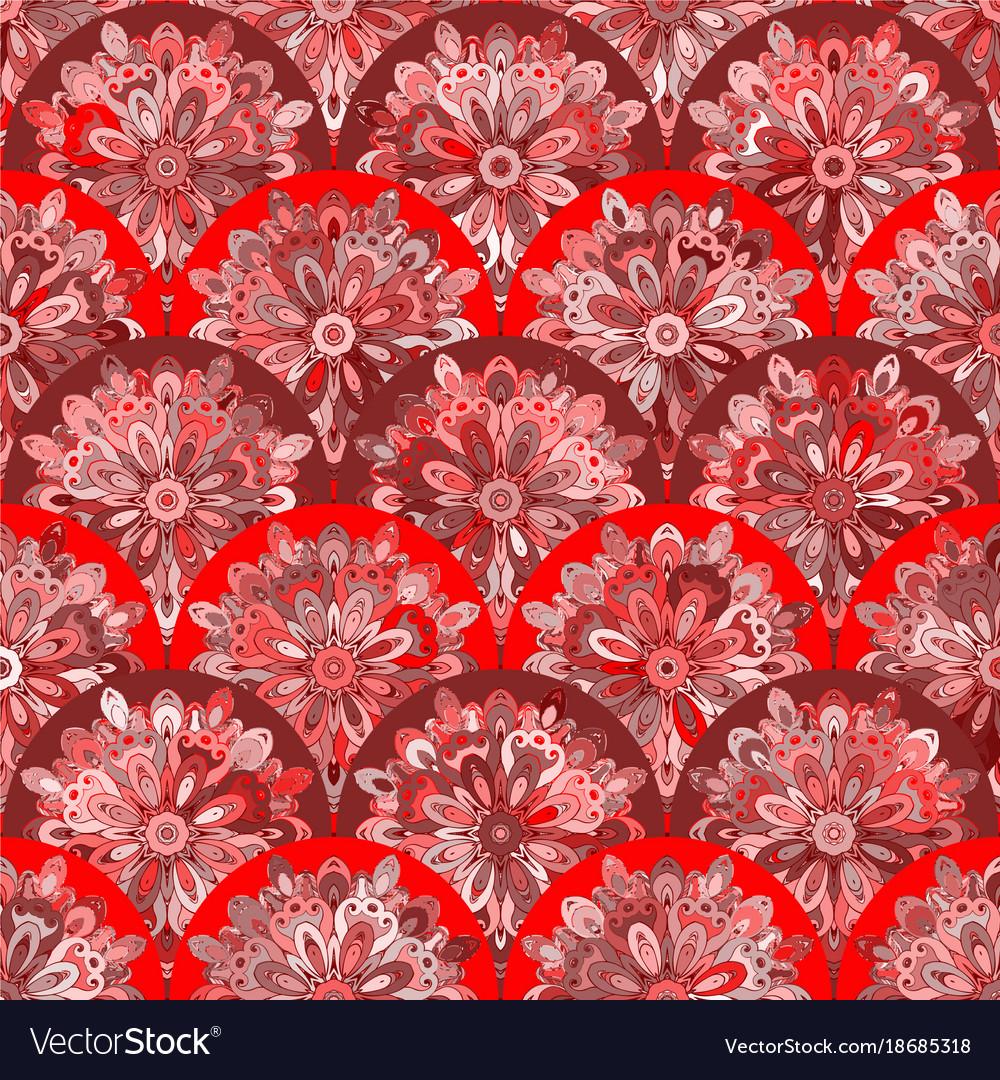 Seamless pattern with red circle kaleidoscope