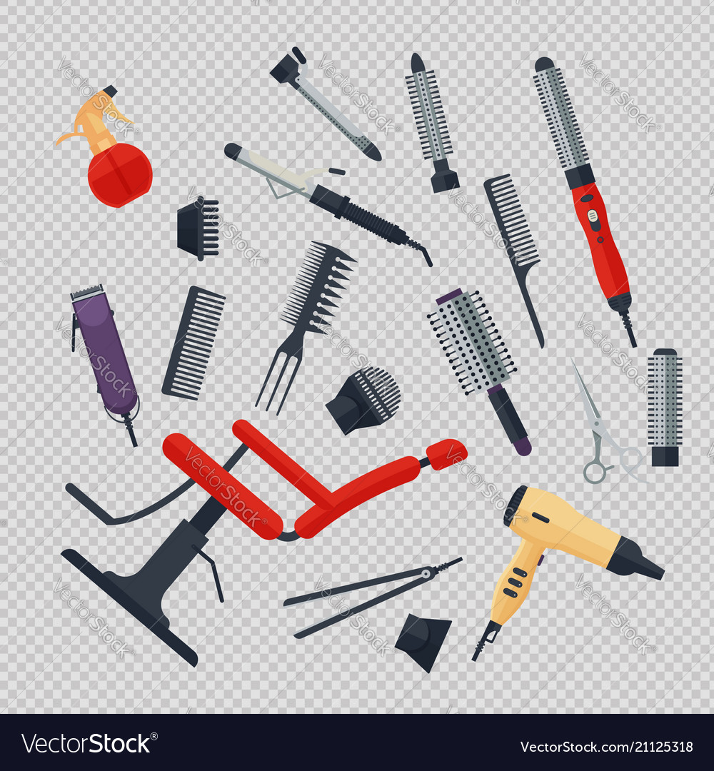 Set of hairdresser objects in flat style on