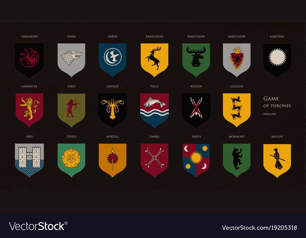 Set of heraldic symbols or logos of various game vector image