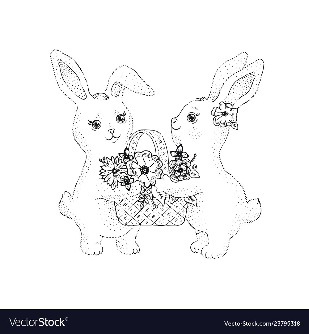 Spring bunny rabbits with flowers blossom in