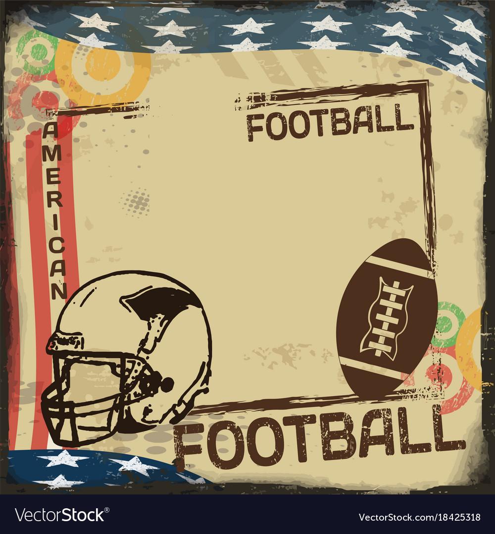 Vintage american football poster or frame