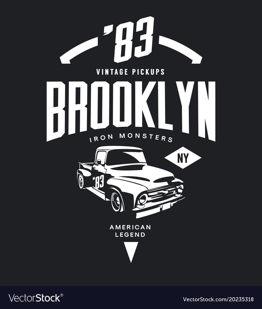 Vintage pickup vehicle tee-shirt logo
