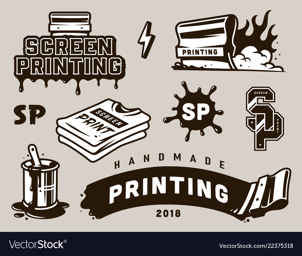 Vintage screen printing elements composition