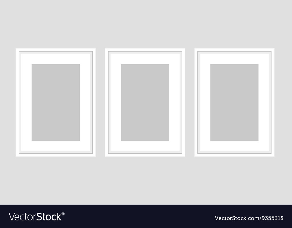 Wall art poster set of three white A4 frames Vector Image