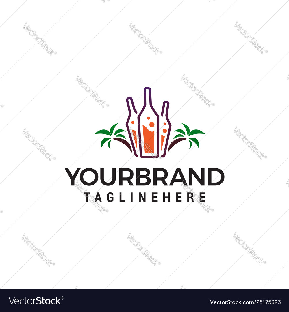 Bar and nightclub in beach logo design concept