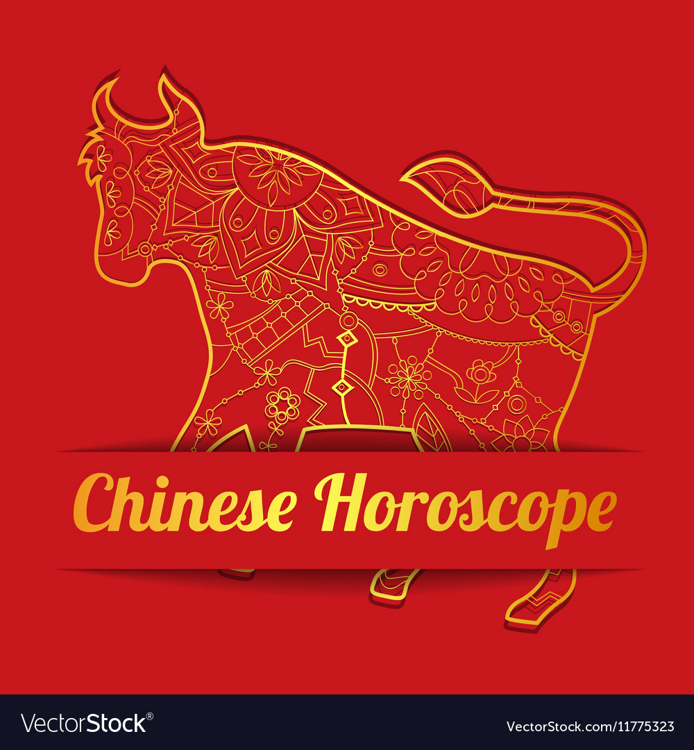 Chinese horoscope background with golden bull